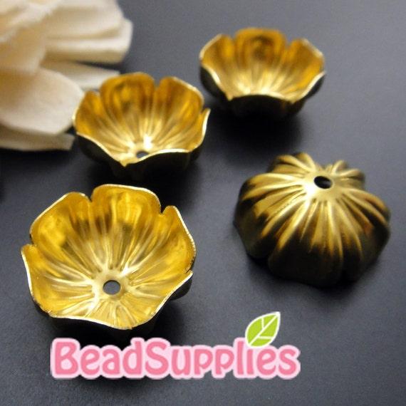 FG-FG-08023 - Nickel free raw brass  Antique style flower beadcaps, 4 pcs