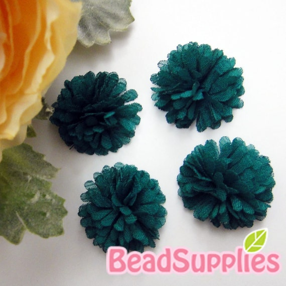 FA-FL-02009 - Fabric Pom Pom (S), teal, 4 pcs