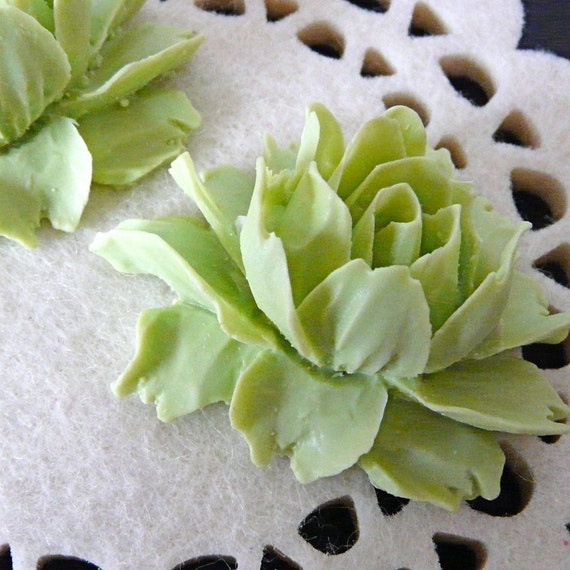 Lime Green Rose Cabochon, 2 pcs