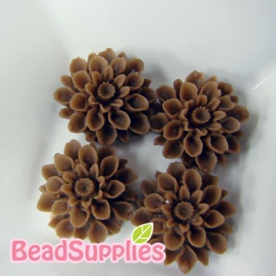 CA-CA-01522 - Choco chrysanthemum Cabochon,  6 pcs
