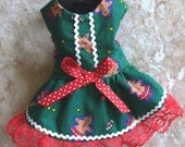 Reserved for Jessie Gingerbread Christmas DOG HARNESS DRESS Pet Clothes Kitty outfit Small Pets Ferret