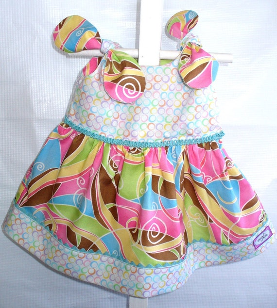 Infant Baby Dress and Panty Set .. Sorbet Swirls and Circles .. 3-6 months ..OOAK .. R2Ship