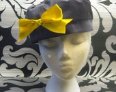 Pillbox-esque Hat.  Grey and Yellow.