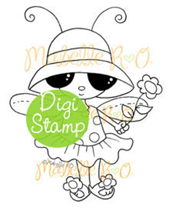 Instant Download Digi Stamp: Summery Mimi Bug
