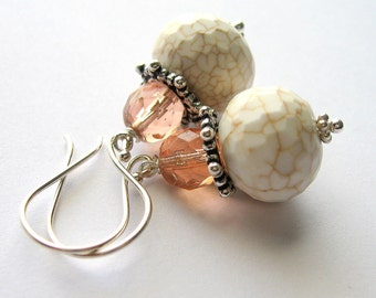 Peach Gemstone Earrings, White Turquoise Howlite Dangles, Sterling Silver