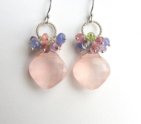 Pink Gemstone Cluster Earrings, Rose Quartz, Sapphire, Sterling Silver