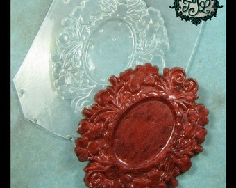 resin MOLD Ornate Bezel or Cameo Setting 49x39mm also for polymer clay, pmc, plaster, soaps, and candles