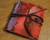 "Leather Travel Journal (Red w/Black ""Thornwork"" Swirls)"