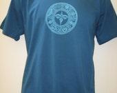 ORGANIC Ashtamangala Buddha eyes Tibet blue design mens short sleeve shirt 3 of 3
