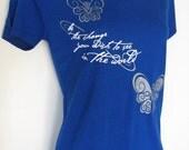 Organic Bamboo butterfly yoga Gandhi short sleeve t-shirt Be the Change...