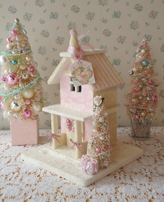Shabby Pink Christmas Cottage - w/ Bottle Brush Trees