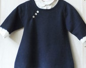 girl s cashmere dress 2 years navy blue color