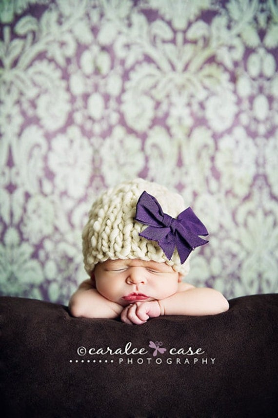 Knitting Pattern Newborn Classic Beanie Baby Hat (PDF) For Bulky to Super Bulky Yarns Great Photography Prop Thick n Thin Yarn Slub Yarn