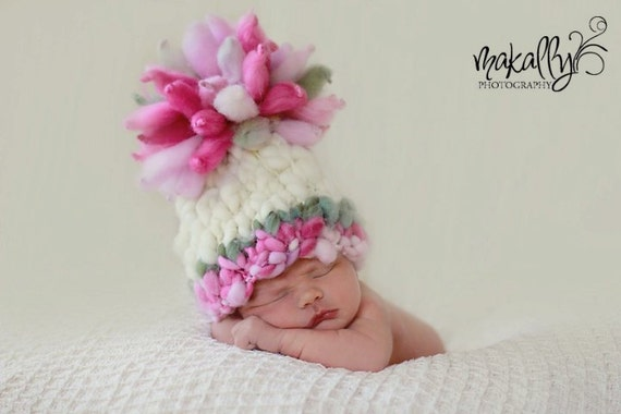 Knitting Pattern Newborn Giant Pom Baby Hat (PDF) For Bulky to Super Bulky Yarns Great Photography Prop