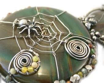 Sterling Silver Statement Bib Necklace - Pond Reflection