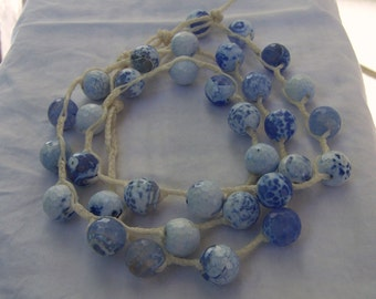 Faceted Agate, hand woven wax linen,  necklace or bracelet