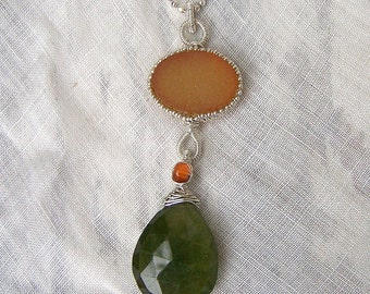 Carnelian Druzy crystal, faceted Vessonite  Indocrase briolette, sterling silver  ball chain, necklace