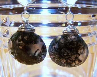 Reserved...Fancy Moss Agate,  Green Amethyst, faceted briolette, sterling silver wire wrapped, French  earwire