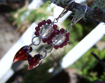 Faceted  Garnet heart, Rock crystal,  Mozambique garnet round,sterling silver wire wrapped, earrings