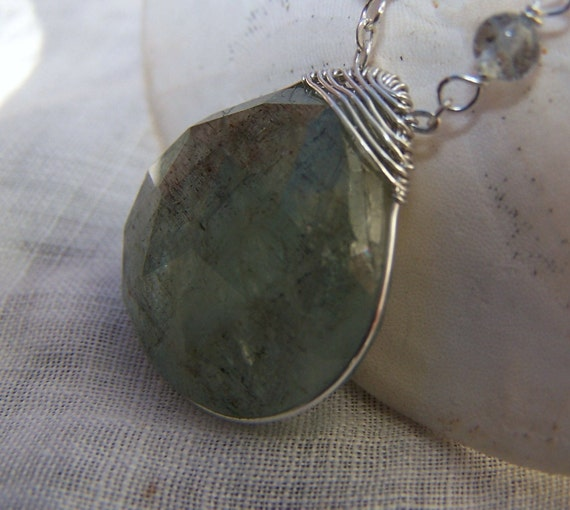Large Faceted Moss Aquamarine briolette, sterling silver wire wrapped, Pendant necklace