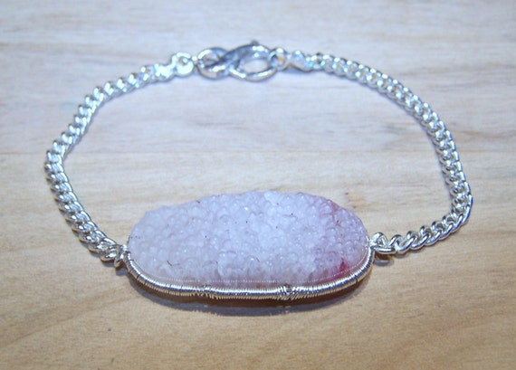 Pink Druzy/ Drusy, sterling silver coil wrap, beveled chain bracelet