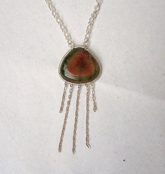 Watermelon Tourmaline,  smooth slice, sterling silver coil wrap, sterling silver pendant, necklace