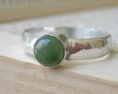 Wide Hammered Sterling Band with Nephrite Jade or Rhodochrosite