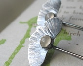 Sterling Silver Ginkgo Earrings with Moonstone