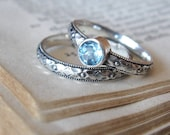 Promise Ring withe Gemstone Stacking Ring in Sterling Silver Blue Topaz Commitment ring