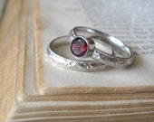 Sterling silver Garnet Gemstone Ring  Promise Ring Stacking Ring Bright