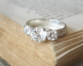 Three Stone White Topaz Engagement Ring Promise Ring Sterling Silver
