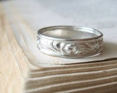 Swirl Unique Wedding Band,  Stacking Ring, Sterling Silver, Unisex Wedding Band, Bright Silver