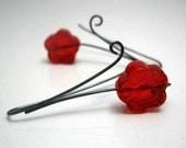 Red Sakura Dangle Earrings- version 2