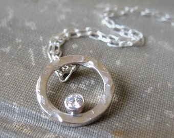 Sterling Silver Hammered Eternity Circle Necklace Gemstone necklace or Birthstone Pendant Cz or white topaz