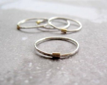 Silver and Gold Stacking Ring - Single Ring Size 6 Ready to Ship