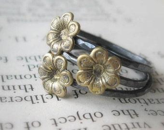 Little Brass Flower Stack Ring Trio