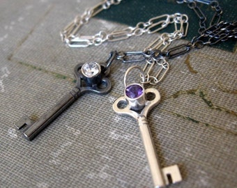 Sterling Silver Key Pendant Oxidized with Signity CZ