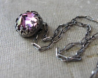 Mini Purple Vintage Swarovski Necklace Handmade in Oxidized Sterling