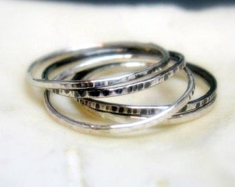 Hammered Sterling Stacking Rings