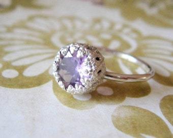 Engagement Ring Silver Lilac Amethyst Let them Eat Cake Sterling Silver Ring