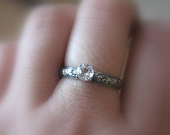 White Topaz Alternative Engagement Ring  Gemstone Promise Ring  or Stack Ring size 6 ready to ship
