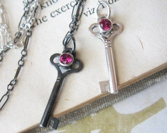 Key Charm Necklace Pendant Red Ruby in Sterling Silver Lab Created Ruby Gemstone Pendant Red Gemstone Necklace July Birthstone Necklace