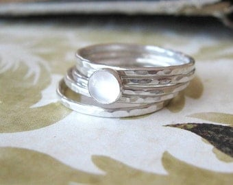 Moonstone Stacking Ring Set Stack Bands Gemstone Hammered Rings in Sterling Silver