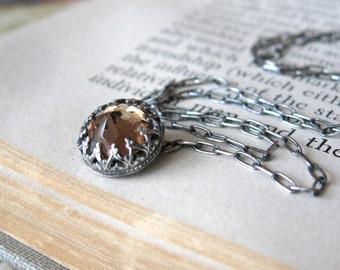 Mini Amber Vintage Swarovski Necklace Handmade in Oxidized Sterling