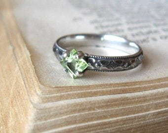 Peridot  Alternative Engagement Ring Promise Ring Gemstone Stacking Ring Sterling Silver Princess Cut