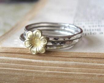 Stacking Bright Silver Brass Flower Ring Set brass jewelry