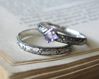 Square Amethyst Gemstone Ring, Stacking Ring, Alternative Engagement Ring, Promise Ring, Sterling Silver Princess Cut