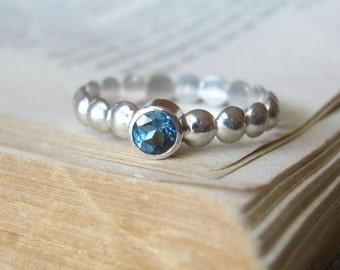London Blue Topaz RIng Gemstone Ring Bezel Set Solitaire Modern Geometry Stack Ring in Sterling Silver