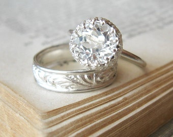 Engagement Ring Large White Topaz Let them Eat Cake Ring Sterling Silver