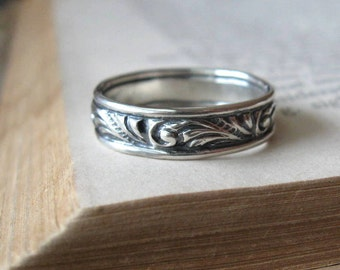 Swirl Wedding Band Single Wedding Ring in Sterling Silver Wide Band Oxidized